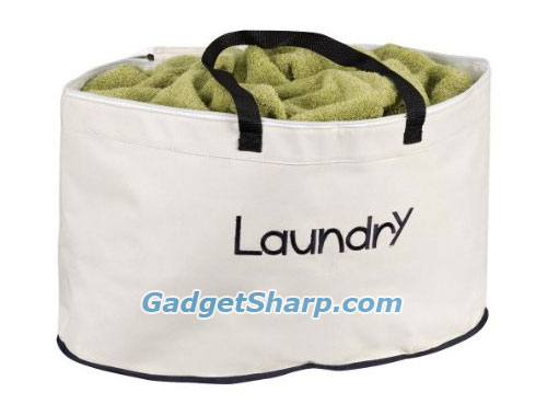 Oval-Shaped Laundry Hamper with Carrying Straps