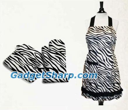 Zebra Print Kitchen Linen Gift Set, Apron and Oven Mitt / Potholder