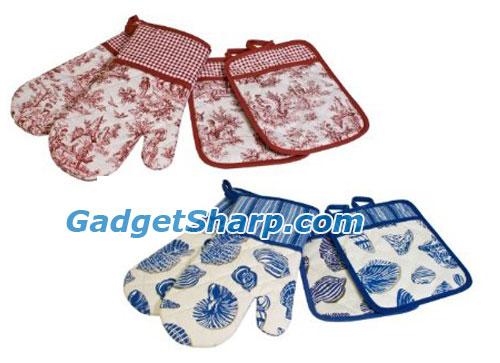 Waverly 2-Piece Oven Mitt and 2-Piece Pot Holder Set