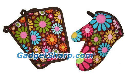 Sassy Cook'n Flower Pot 3-Piece Potholder and Oven Mitt