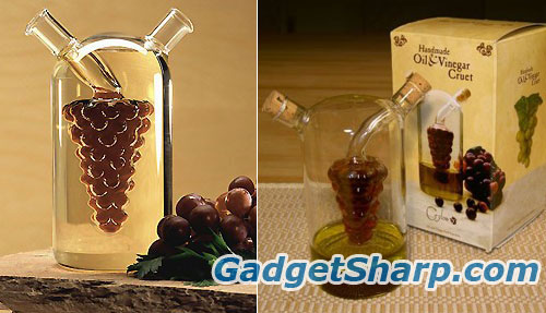 Olive Oil and Vinegar Cruet Grape Bunch Design