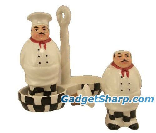 Fat Chef Oil and Vinegar Cruet Set with Holder