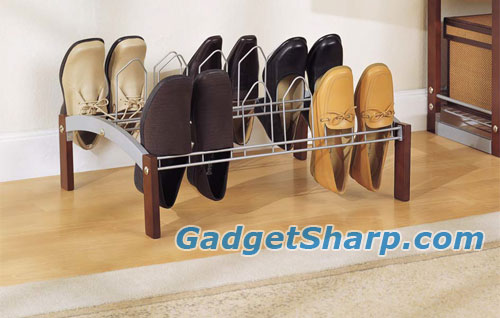 Neu Home Espresso 9 Pair Wood and Metal Shoe Rack