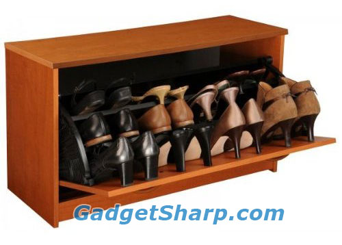 Single Cherry Finish Shoe Cabinet