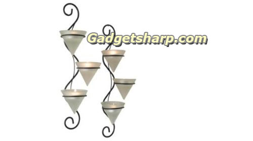 Elongated Wall Votive Holder Set with Frosted Cups