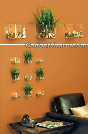 Set of 3 Chai Glass Tealight Holders - Wall-Mounted Design