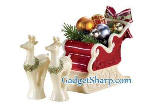 Sleigh Candy Dish, Reindeer Salt and Pepper Gift Set, 3 Piece