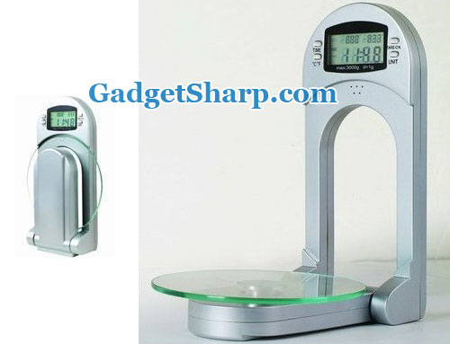 NewLine Space Saver Digital Glass Kitchen Scale