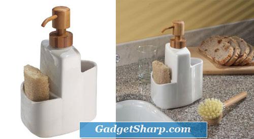 InterDesign Formbu Ceramic Brush Caddy, White/Bamboo