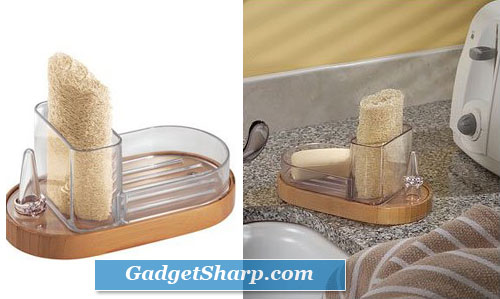Formbu Sponge & Ring Caddy (Bamboo/Clear)