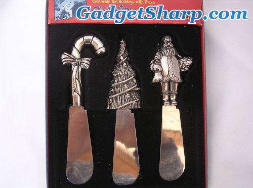 Christmas Spreaders - Set of 3 with Fine Stainless Steel Blades