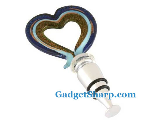 Art Glass Open Heart Wine Stopper