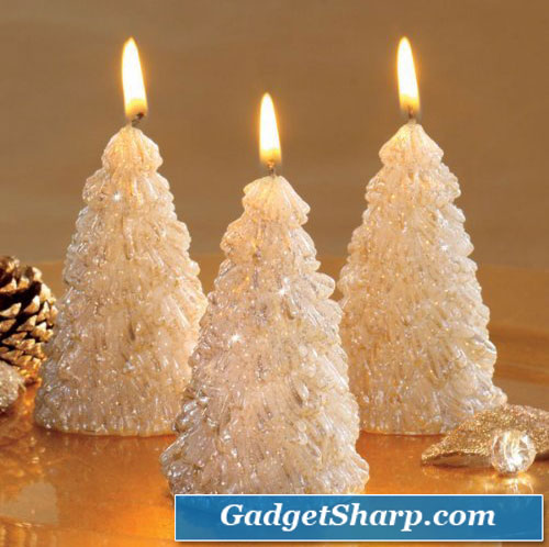 Dazzling Glitter Tree Candles