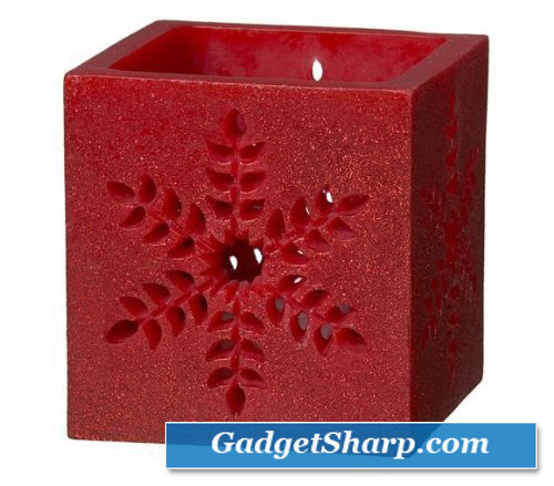 Red Snowflake Luminary Tealight Candle Holder