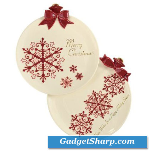 Grasslands Road Holiday Presents Snowflake Ornament 8-1/4-Inch Dessert Plates