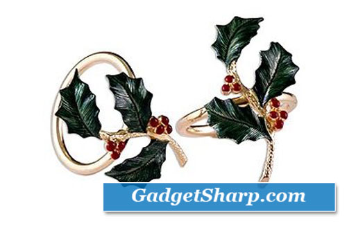 Holly Napkin Rings 4 Pack