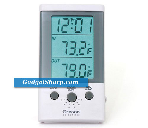 Indoor/Outdoor Thermometer Clock with Wired Probe