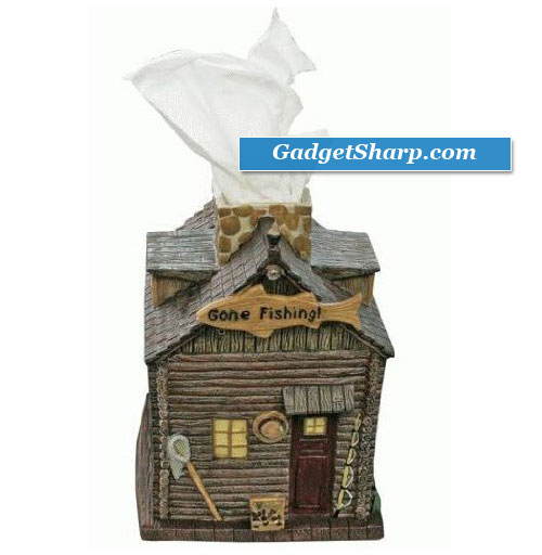 Ceramic Square Tissue Box Cover Cabin w/ Tissue Simulating White Smoke From Chimney