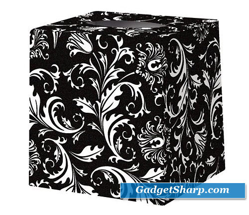 Black & White Damask Tissue Box Cover
