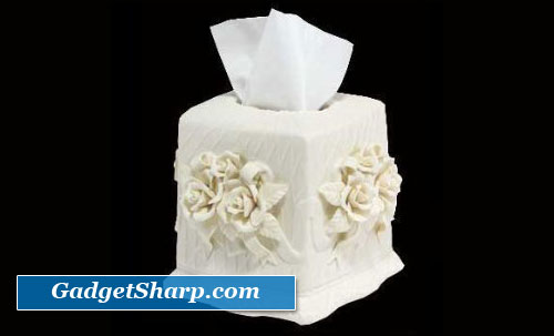 Facial Tissue Holders Cream Porcelain
