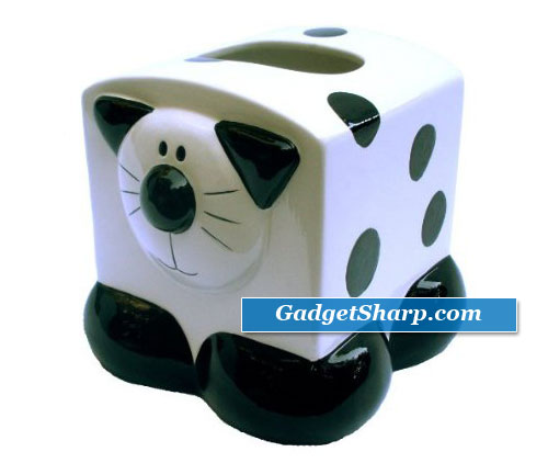 Ceramic Black & White Kitty Cat Themed Tissue Box Holder