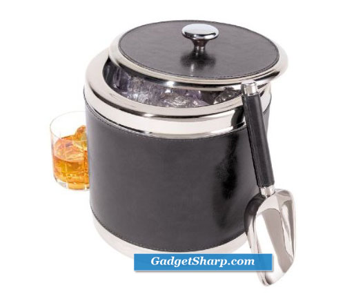Oggi Faux Leather and Stainless Steel Ice Bucket with Ice Scoop