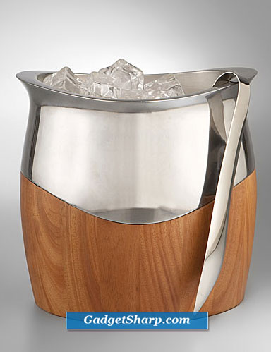 Nambe Cradle Ice Bucket with Tongs