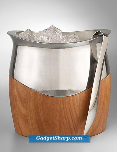 Nambe Cradle Ice Bucket with Tongs