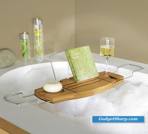 aquala bamboo and chrome bathtub caddy