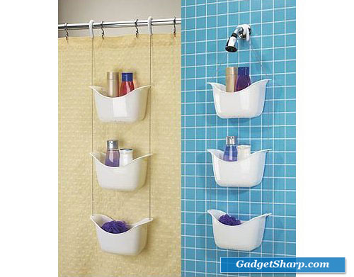 White Hanging Shower Caddy 3 Tiered Baskets Bath Decor