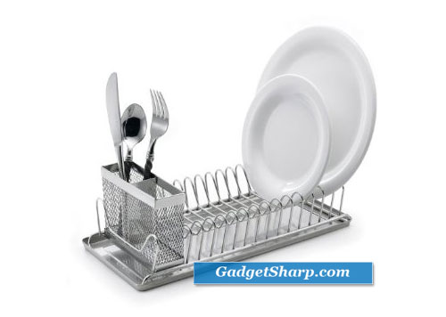 Compact Stainless-Steel Dish Rack with Utensil Holder