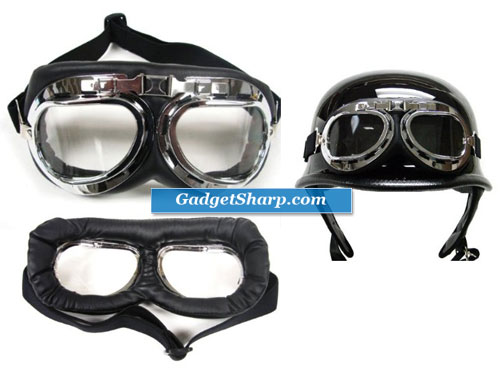 WWII RAF Aviator Pilot Motorcycle Half helmet Goggles