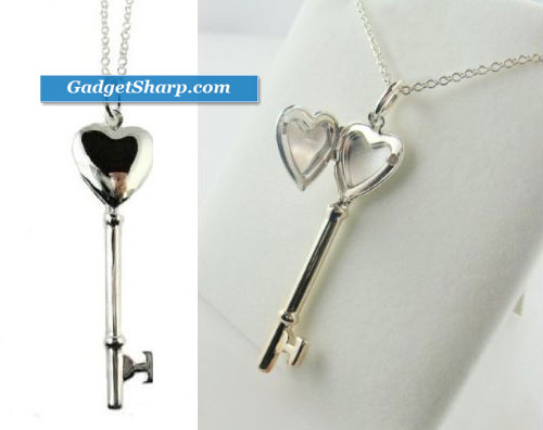 Sterling Silver Heart Shaped Locket Key Pendant