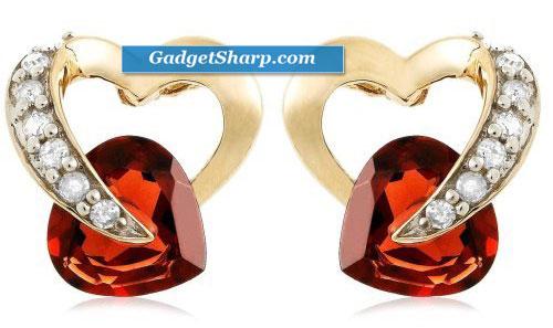 10k Yellow Gold Diamond and Garnet Heart-Shaped Earrings