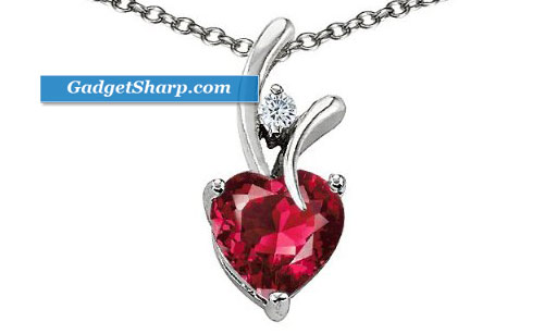1.95 cttw 925 Sterling Silver 14K White Gold Plated Created Heart Shaped Ruby Pendant