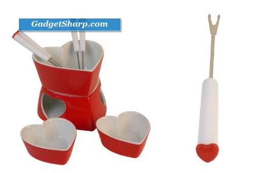 Heart Shaped 9 piecec Chocolate Cheese Valentines Fondue Set