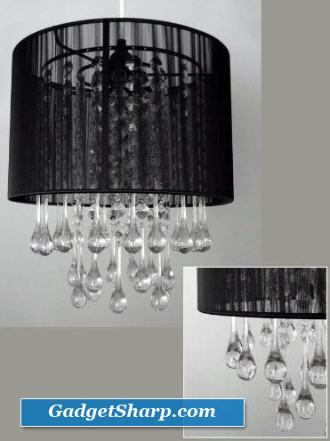 12-Inch wide Black Crystal Like Chandelier