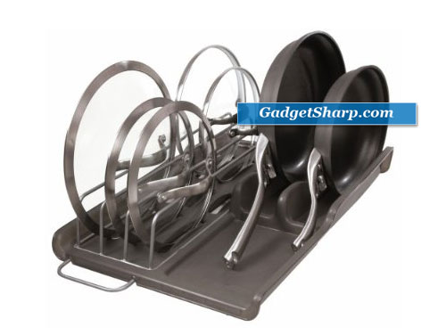 Vertical Slide-Out Lid and Pan Organizer