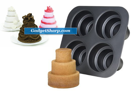 Metallic Multi Tier Cake Pan 4 Cavity