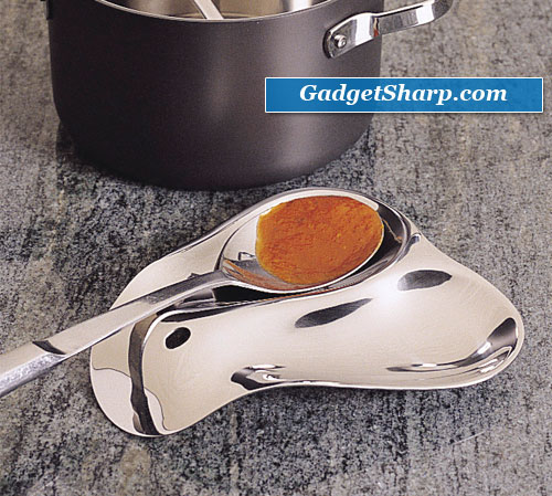 RSVP Stainless Steel Double Spoon Rest