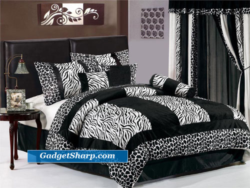 7pc Black & White Micro Fur Zebra Queen Size Bedding