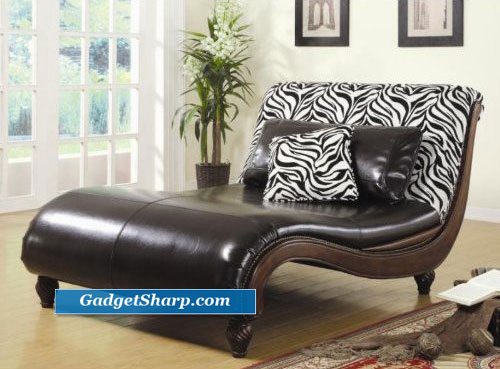 Zebra Pattern Back Chaise Lounge Chair with Accent Pillows