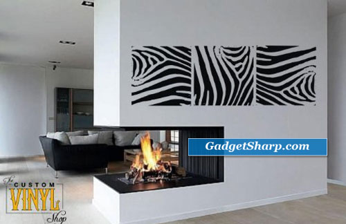 Zebra Print Panels Vinyl Wall Art Decal Sticker Decor