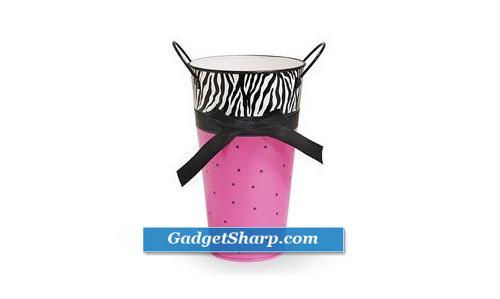 Zebra & Hot Pink Tin Vase Polka Dots and Black Ribbon