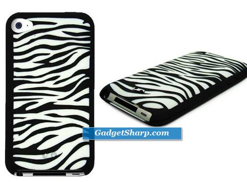 Apple Ipod Touch Zebra Print Silicone Skin Case cover