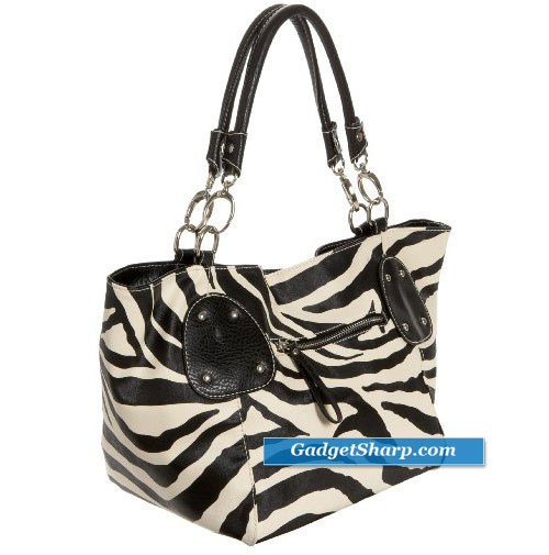 Zebra Print Faux Leather Satchel Bag Handbag Purse