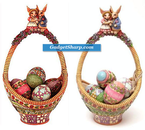 Jim Shore Gathering Joy EASTER BASKET WITH EGGS NIB