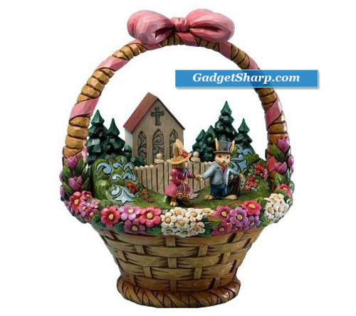 Easter Diorama Featuring a Church, Bunnies, and Woodlands in a Decorated Easter Basket