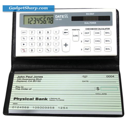 Checkbook Calculator with Designer-style Wallet and Pen
