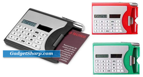 Solar Calculator, Pen Office Business Card Holders